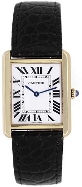 Cartier Tank Solo W1018855 18K Yellow Gold & Leather White Dial Quartz 34mm Men's Watch