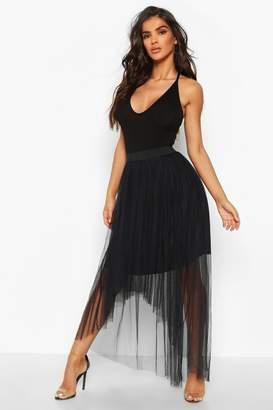 boohoo Dip Hem Tulle Maxi Skirt