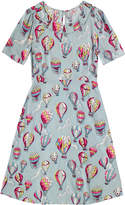 Cath Kidston Hot Air Balloons Pleated Neck Dress