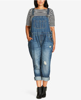 City Chic Trendy Plus Size Ripped Overalls