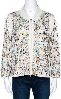 Moncler Cream Embellished Nylon Bomber Jacket M