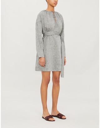 ASCENO Santorini linen mini dress