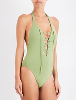 Seafolly Lace-up halterneck swimsuit
