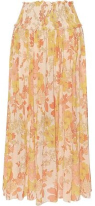 Zimmermann Printed Georgette Midi Skirt