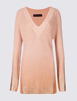 M&S Collection Cotton Blend V-Neck Longline Jumper
