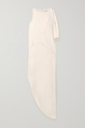 Halston Asymmetric Draped Crepe Maxi Dress - Off-white