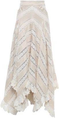 Zimmermann Asymmetric Lace And Polka-dot Satin Midi Skirt