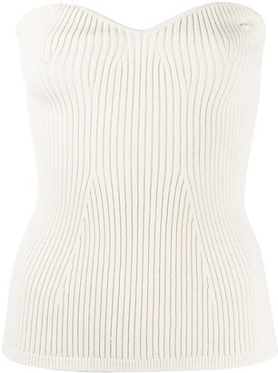 KHAITE Ribbed Knit Bustier Top