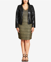 City Chic Trendy Plus Size Cropped Sequin Jacket