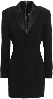 Balmain Satin-trimmed Crepe Mini Tuxedo Dress