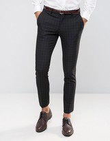 Selected Suit Pant with Mini Plaid in Skinny Fit with Stretch