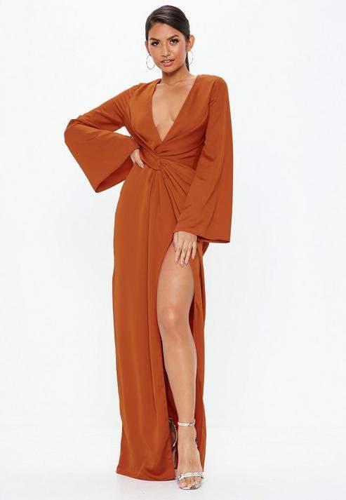 Missguided Tall Rust Crepe Twist Front Split Maxi Dress