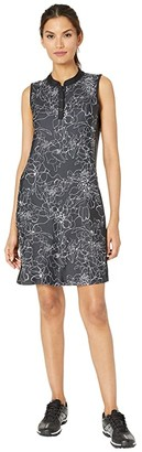 Tribal Printed Stretch Knit Golf Dress w/ Shorts (White) Women's Dress