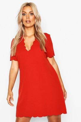 boohoo Plus Scallop Edge V Neck Shift Dress