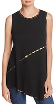 T Tahari Angelica Asymmetric Foil Trim Top