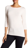 Susina 3/4 Length Sleeve Striped Boatneck Shirt