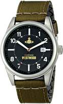 Vivienne Westwood Butlers Wharf Men's Quartz Watch with Black Dial Analogue Display and Green Nylon Strap VV079BKGR