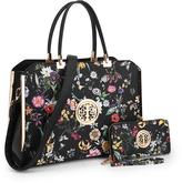 Dasein Black Floral Satchel & Wallet