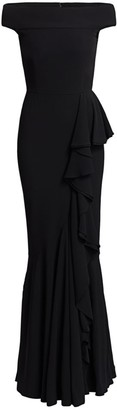Alexander McQueen Off-The-Shoulder Draped Gown