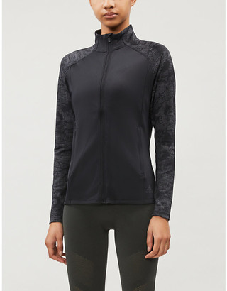 adidas Graphic-print funnel-neck stretch-jersey jacket