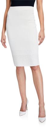St. John Open Stitch Pointelle Knit Skirt