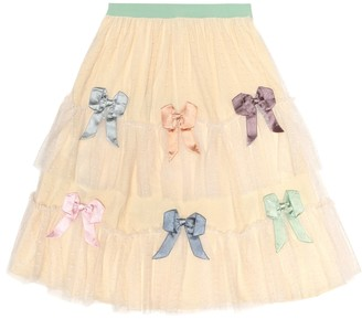 Gucci Kids Bow-embellished tulle skirt