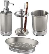 InterDesign York Metal Bath Accessory Set, Soap Dispenser Pump, Toothbrush Holder, Tumbler, Soap Dish - 4 Pieces
