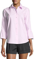 Marc Jacobs Button-Front 3/4 Sleeve Cotton Poplin Shirt