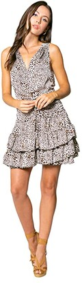 Lavender Brown Cheetah Printed Sleeveless Mini Dress with Ruffle Hem (Taupe Multi) Women's Clothing