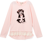 Speechless Rose Puppy Lace-Trim Sweatshirt - Girls