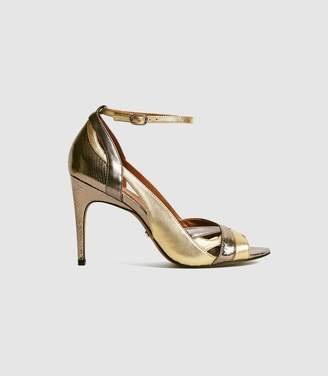 Reiss FLORENCE METALLIC STRAPPY HIGH HEELED SANDALS Dark Grey