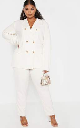PrettyLittleThing Plus Cream Tailored Trousers