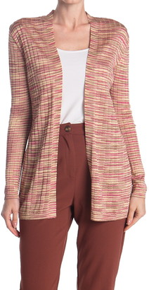 M Missoni Heathered Print Ribbed Knit Cardigan