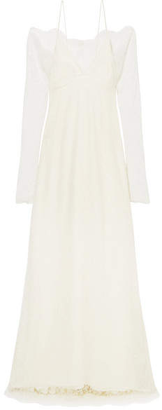 Off-White Danielle Frankel - Cold-shoulder Chantilly Lace And Chiffon Gown