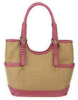 B. Makowsky As Is Straw Tote with Leather Trim & Buckle Accents