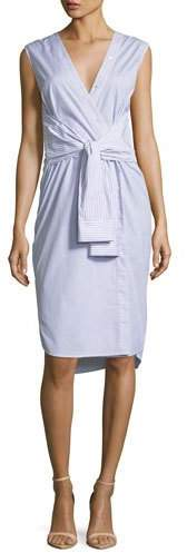 Alexander Wang Sleeveless Tie-Front Striped Shirting Midi Dress