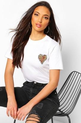 boohoo Tall Leopard Heart Pocket Print T-Shirt