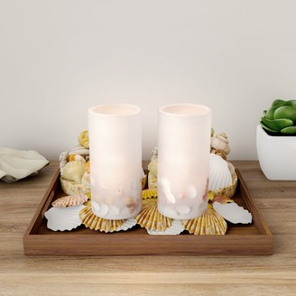 Trademark Global LED Seashell Candles with Remote Control-Set of 2 Nautical Flameless Color Changing Pillar Lights-Ambient Coastal by Lavish Home