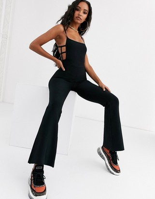 Sixth June flare jumpsuit with cage detail in bandage