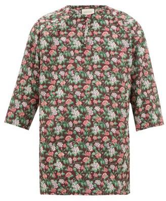Gucci Floral-print V-neck Cotton Tunic - Mens - Green Multi
