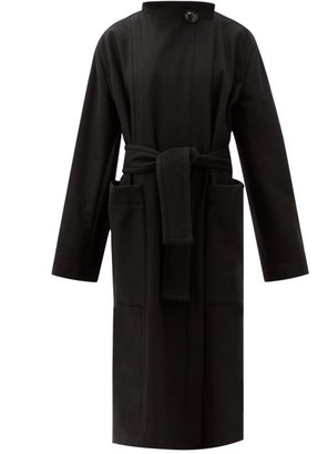 Lemaire Stand-collar Felted Wool-blend Longline Wrap Coat - Black