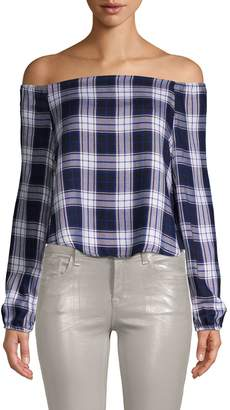 RENVY Plaid Off-the-Shoulder Cropped Top