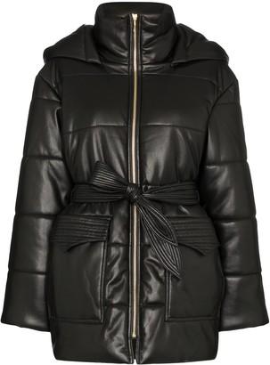 Nanushka Lenox hooded vegan leather puffer jacket