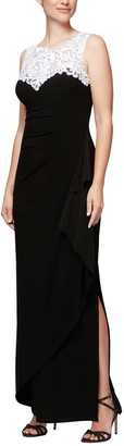 Alex Evenings Women's Plus Size Embroidered Long Dress