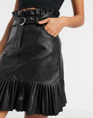 New Look belted pleated faux leather mini skirt in black