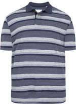 Yours Clothing BadRhino Plus Size Mens T Shirt Tee Top Marl Stripe Polo Button Collar
