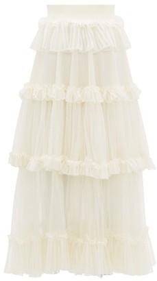 Alexander McQueen Ruffle-tiered Silk-net Skirt - Ivory