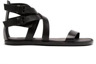 Ann Demeulemeester Crossover Leather Sandals - Womens - Black