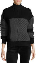 McQ Mixed Cable-Knit Turtleneck Wool Sweater