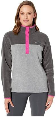 Columbia Benton Springstm 12 Snap Pullover (Light Grey Heather/Shark) Women's Long Sleeve Pullover